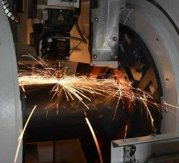 Sparks Flying During Laser Cutting Process